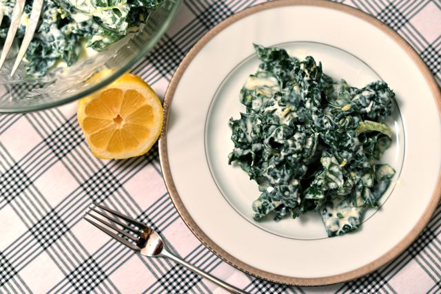 Kale Salad with Lemon Cream Dressing