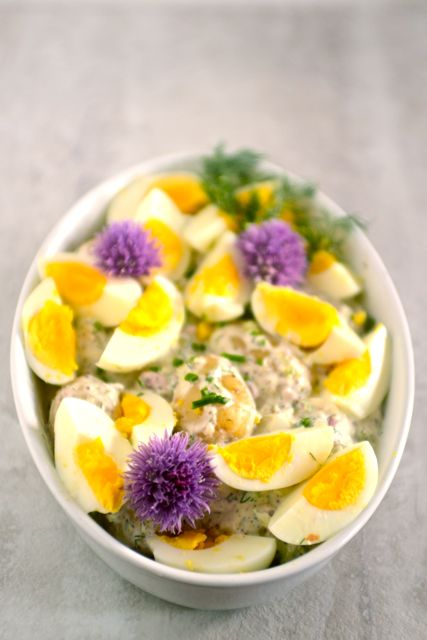 Spring Potato and Egg Salad in Dish