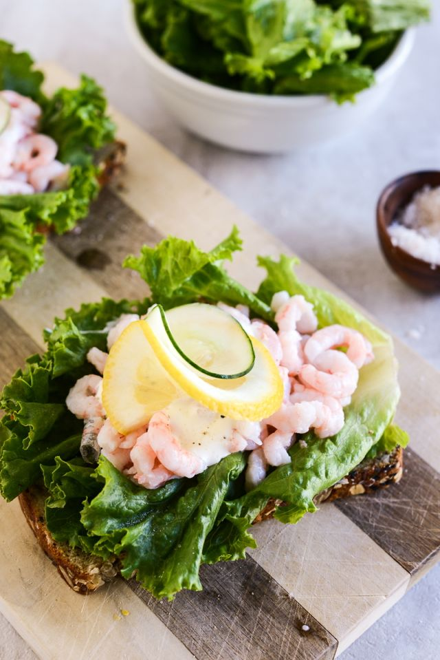 Shrimp Smørrebrød Assembled