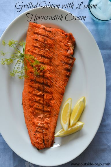 Grilled Salmon with Lemon Horseradish Cream