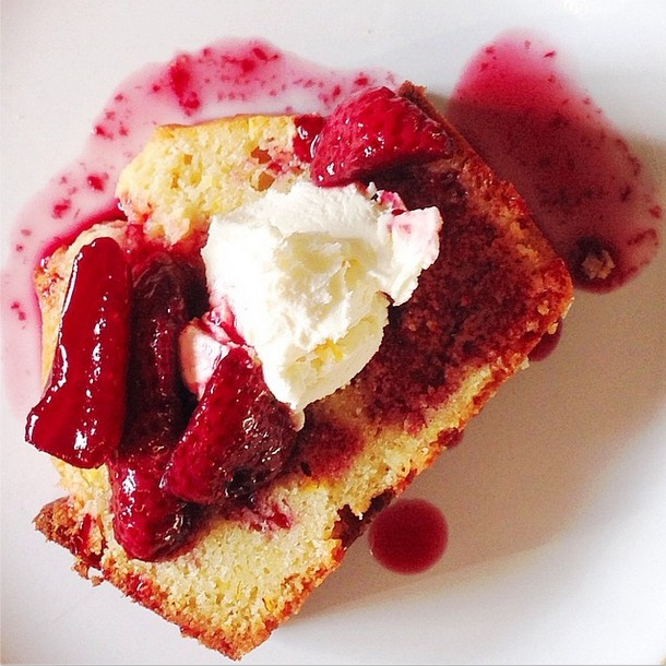 Orange Pound Cake with Wine-Poached Strawberries and Mascarpone