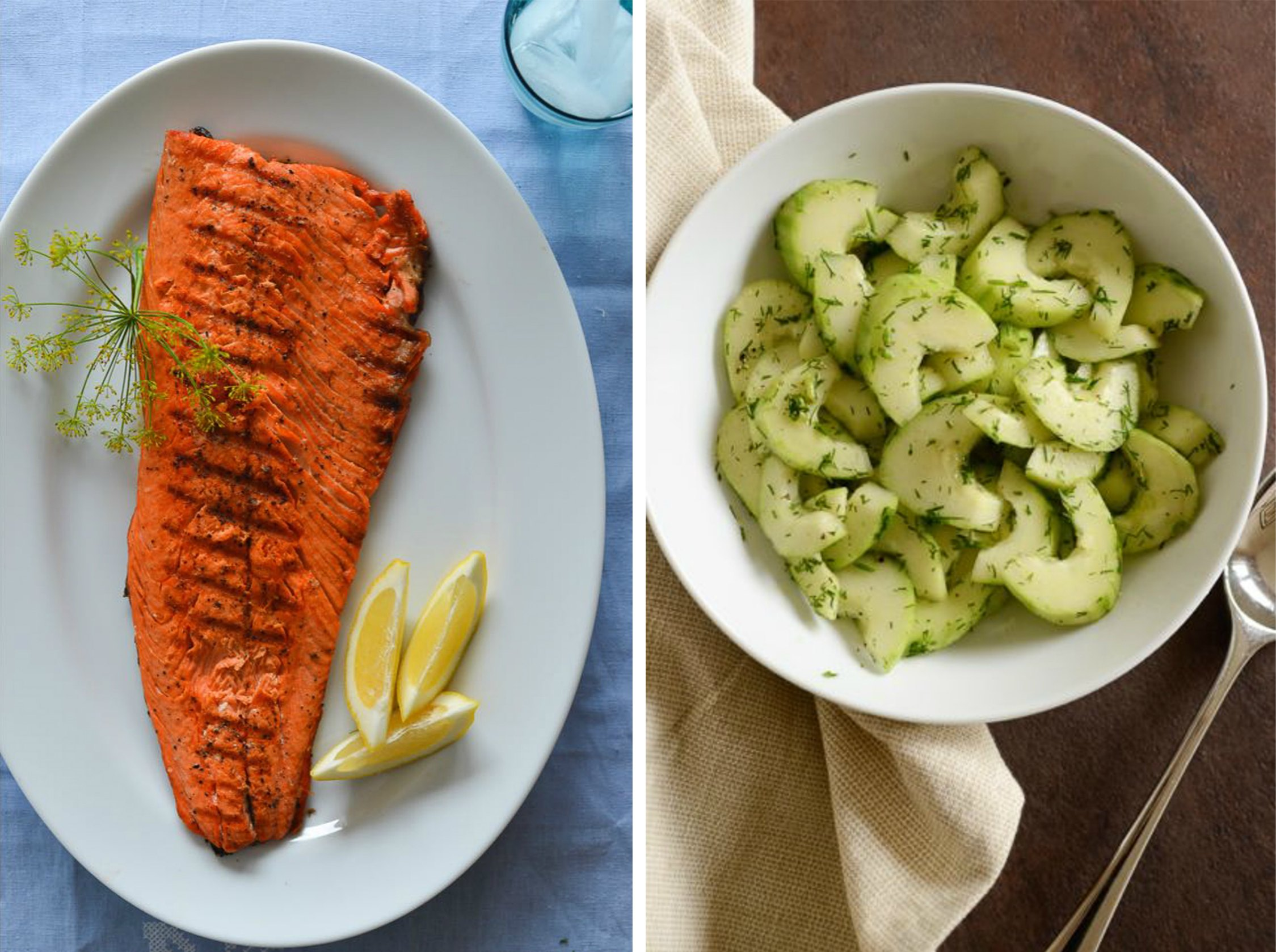 Grilled Salmon and Cucumber Salad